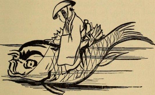 Hombre cabalgando sobre carpa, imagen de un cuento tradicional japonés