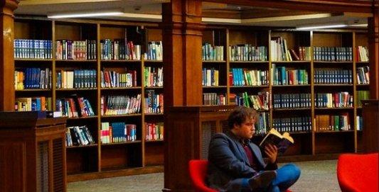 Lector sentado en una biblioteca disfrutando de un buen libro