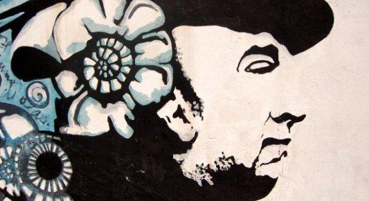 Mural pintado en homenaje al poeta chileno Pablo Neruda