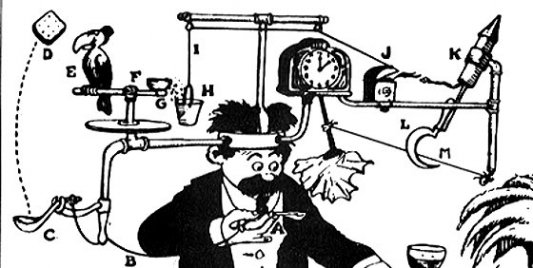 Caricatura del profesor Lucifer Gorgonzola Butts con su máquina de Rube Goldberg