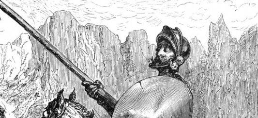 Detalle de uno de los grabados de Durero para la edici�n ilustrada de El Quijote