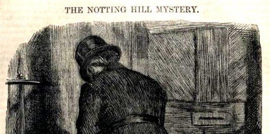 Detalle de la cubierta de la primera edición de El misterio de Notting Hill.