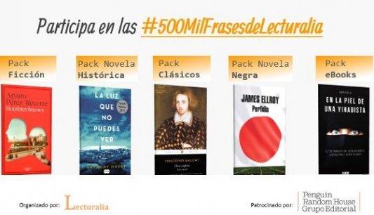 Imagen con los cinco packs de libros del concurso de Lecturalia.