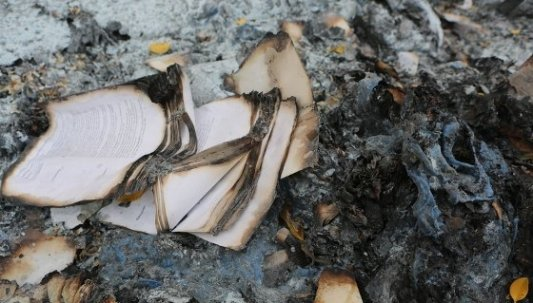Papeles de libros quemados al estilo Farenheit 451.