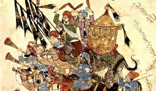 Pintura procedente del manuscrito Maqâmât de Al Harîrî