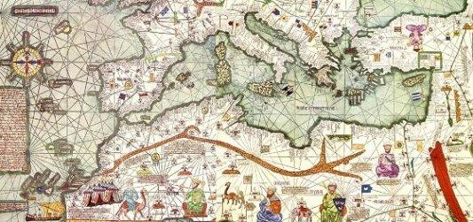 Mapa antiguo de la Corona de Aragón.