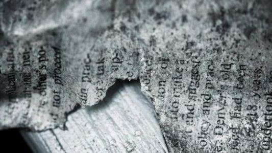 Restos de un libro tras ser quemado.