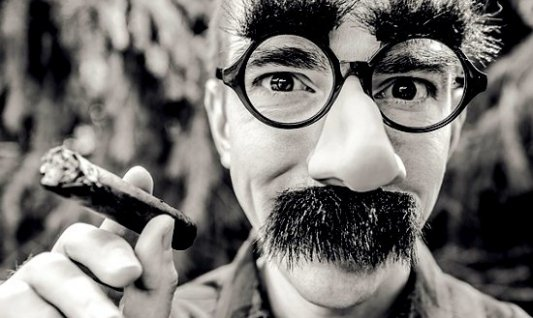 Persona disfrazada con una máscara al estilo Groucho Marx sosteniendo un puro.