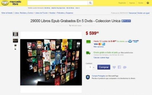 Captura de pantalla de Mercado Libre con 29 000 libros a la venta.