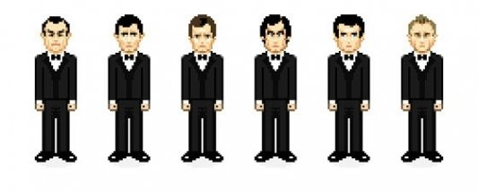Retratos pixelados de los actores que han dado vida a James Bond.