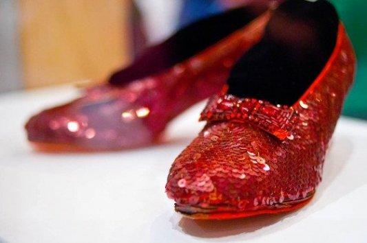 Zapatos de rubíes utilizados para el rodaje de El mago de Oz