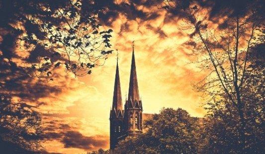 Fotografía de las dos torres de una catedral desde un bosque.