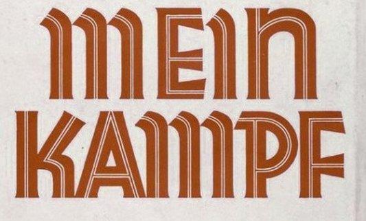 Fragmento de la portada de una de las primeras ediciones del Mein Kampf.