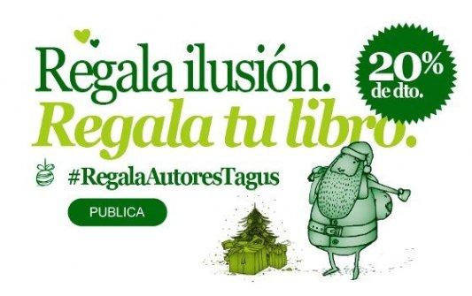 Logo promocional de Tagus para campaña navideña con 20% de descuento en autopublicación.