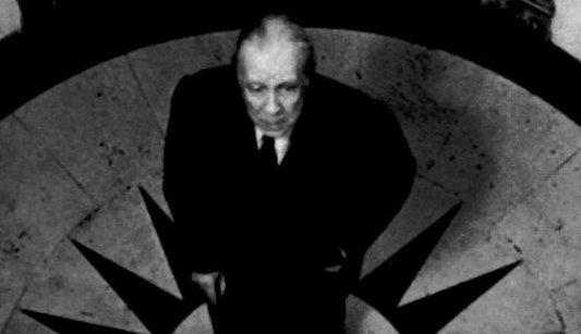 Imagen de Jorge Luís Borges posando en el Hotel L'Hôtel, donde murió Oscar Wilde.