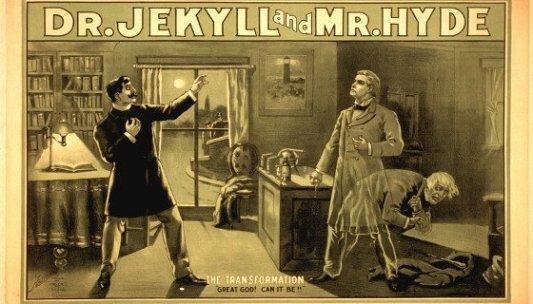 Imagen original de una de las primeras adaptaciones al teatro de Dr. Jekyll y Mr. Hyde.