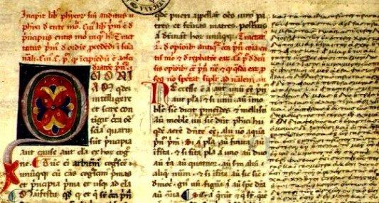 Imagen manuscrita medieval de un texto de Aristóteles.