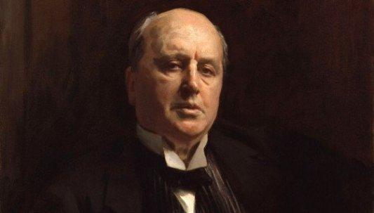 Detalle de retrato en pintura del autor americano Henry James.