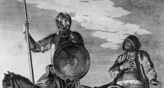 Grabado correspondiente al Quijote en el que aparece Don Quijote y Sancho.