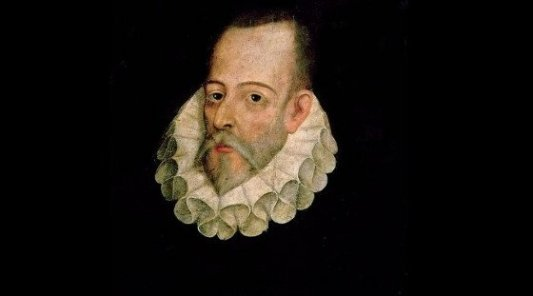 Retrato del escritor español Miguel de Cervantes Saavedra.