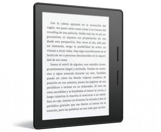 Kindle Oasis sin funda, detalle de los botones laterales.