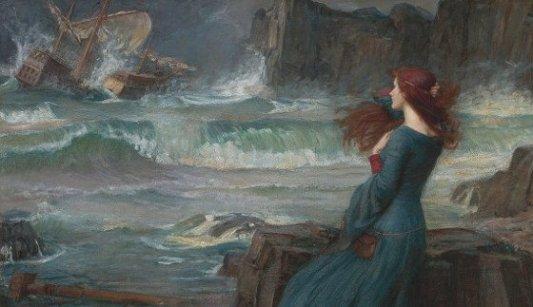 Detalle del cuadro La Tempestad en el que se aprecia al personaje de Miranda observando el naufragio.