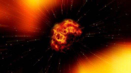 Imagen de un meteorito explotando en el espacio.