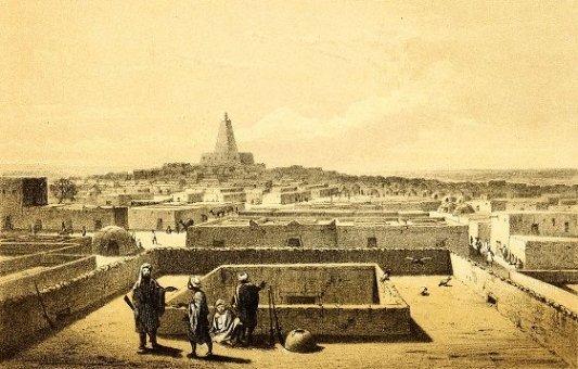 Antiguo grabado de la ciudad de Tombuctú.