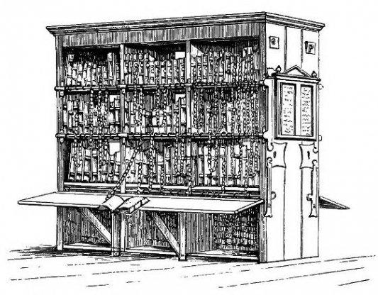 Ejemplo de libros encadenados en un grabado antiguo