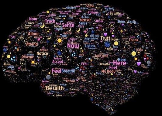 Imagen representativa del cerebro humano con palabras.