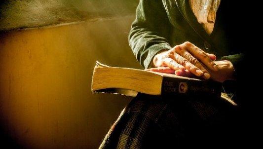 Persona mayor con un libro entre las manos.