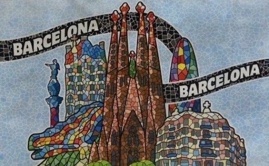 Imagen en mosaico de los principales edificios de Barcelona.