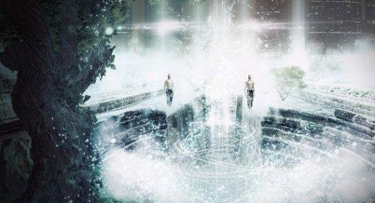 Escena de encuentro en un ambiente de ciencia ficción.
