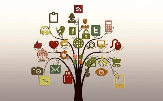 Árbol con ramas que llevan a las redes sociales más conocidas.