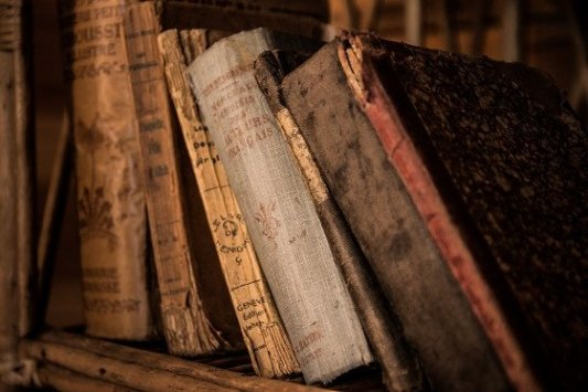 Estantería con libros viejos.