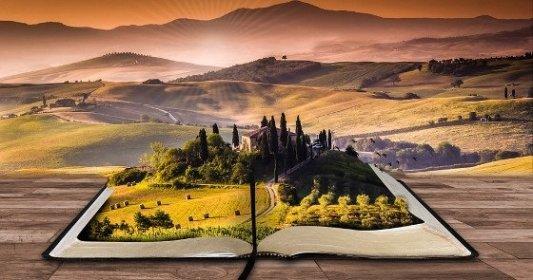 Paisaje de una abadía sobre un libro gigante.