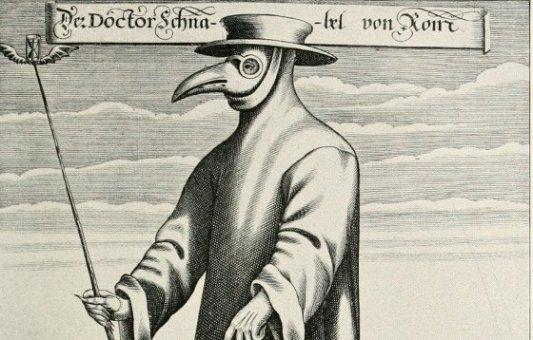 Grabado de un doctor de la peste.