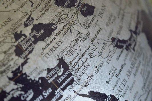 Mapa de Oriente Medio, con especial atención a Turquía, Iraq y Siria