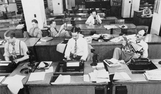 Redacción del NYT en los años 40.