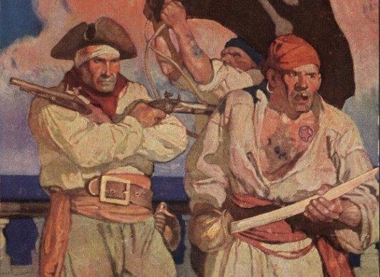 Dos piratas de la portada de La isla del tesoro.