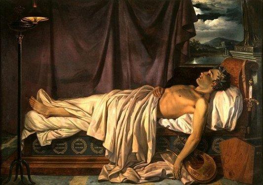 Lord Byron en su lecho de muerte. Joseph Dionysius Odevaere.