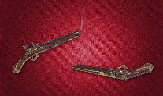 Pistolas de duelo del siglo XIX.