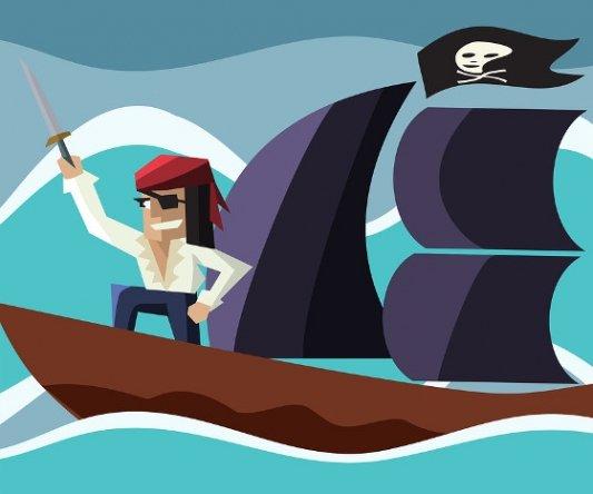 Pirata de cómic en su barco, espada en mano.