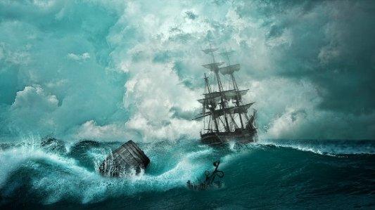 Imagen de un barco en mitad de una tormenta.