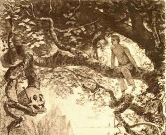 Ilustración original de El escarabajo de oro.