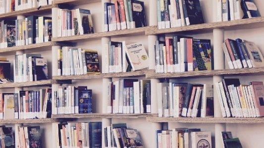 Estanterías llenas de libros de una biblioteca.