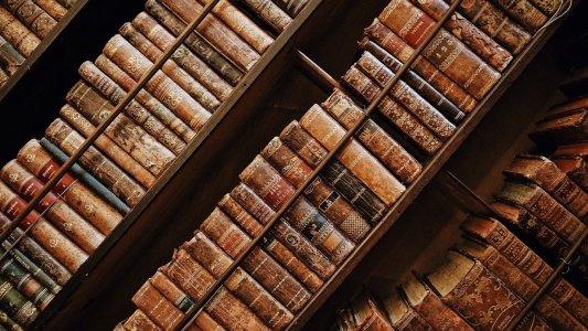 Tomos de libros antiguos en una estantería.