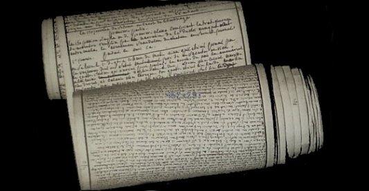 Rollo del manuscrito de Los 120 días de Sodoma.