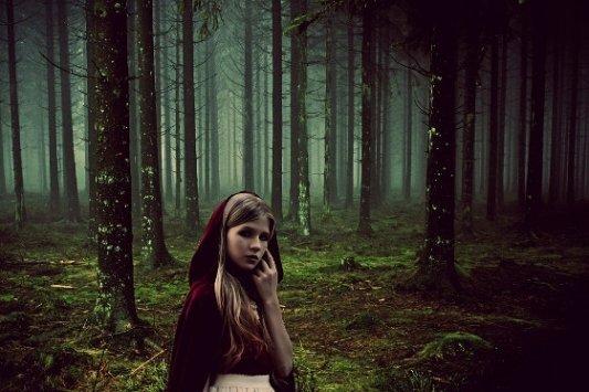 Caperucita roja en el bosque.