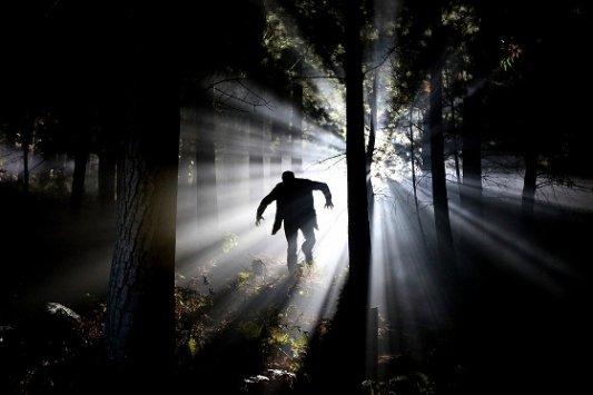 Monstruo corriendo por el bosque.